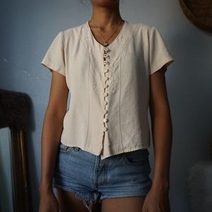SOLD Vintage Button Up Embroidered Cream Blouse